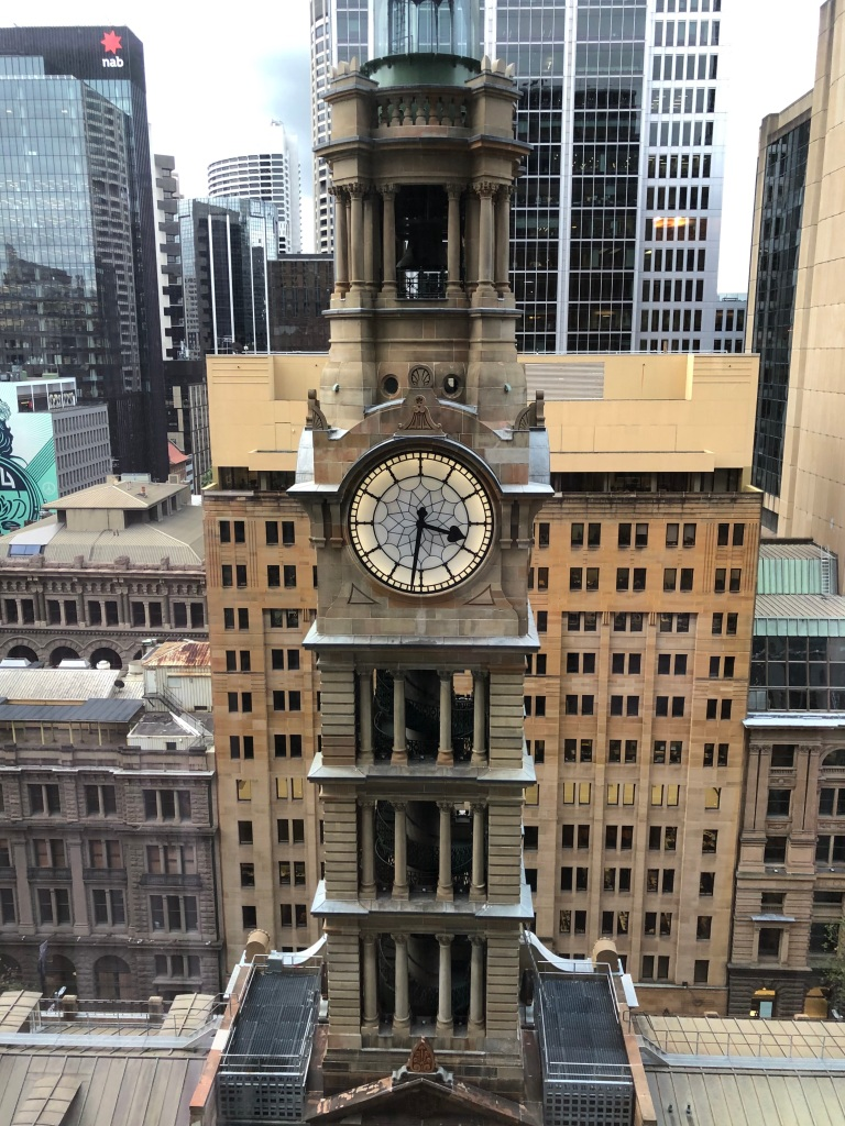 The clock tower in the GPO in Martin Place.